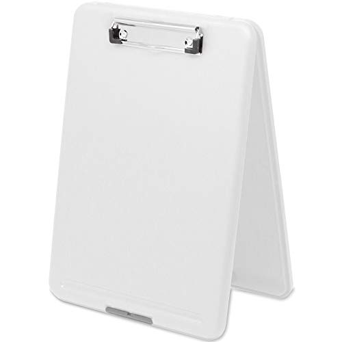 Think2Master White Plastic Storage Clipboard. | 25% Heavier & 25% Sturdier| Heavy Duty and Won't Flex or Bend Like Other Brands (Compare The Weight). Storage Compartment Holds 150 Letter Sized Paper. (Dexas Clipboard Storage)