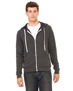 Bella + Canvas Unisex Triblend Sponge Fleece Full-Zip Hoodie (Charcoal Black Triblend) (S)
