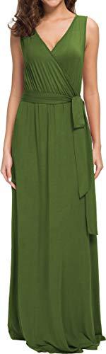 POKWAI Women Sleeveless Maxi Dress Casual Long Dresses Beach Dresses Bohemian Printed Dresses (Army Green - Beach Green