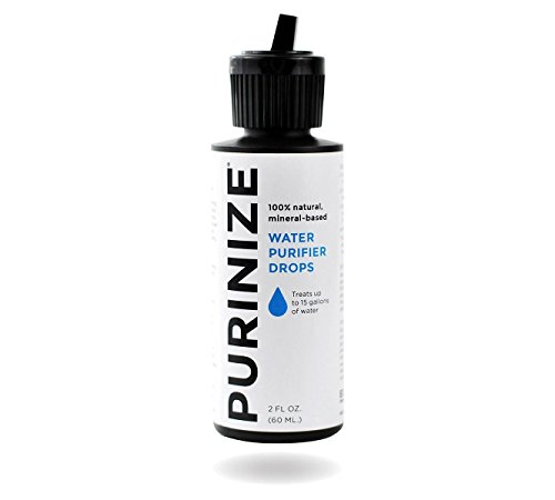 PURINIZE - The Best and Only Patented Natural Water Purifying Solution - Chemical Free Camping and Survival Water Purification 5 Add 20 drops per quart (liter) or 1 tsp. per gallon of water. Shake/stir well & let stand for at least 60 minutes. (Depending on water quality, additio