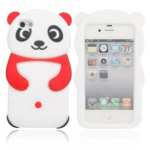 Lovely Panda Style Silicone Protective Case for iPhone 4/4S Red