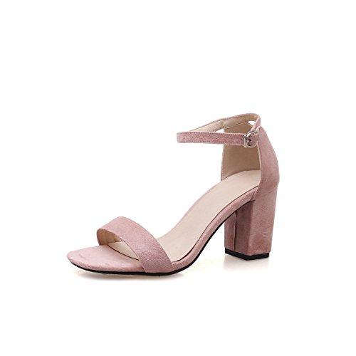 Talons Boucle à avec de Daim Pink Tête Femmes Sandales épais Open Toe Hauts en Carrée wFq8wOfnC