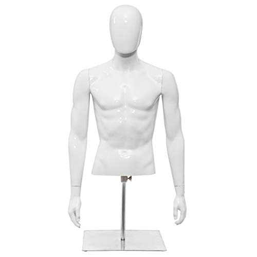Giantex Male Mannequin Torso Head Turn Dress Form Display Adjust Height with Arms, Bright White