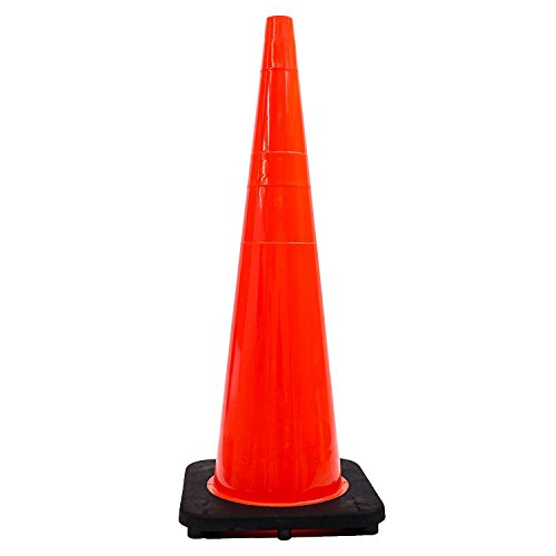 (Set of 6) 36'' RK Orange Safety Traffic PVC Cones with Black Base by RK Safety