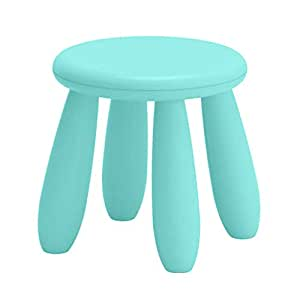 Flameer Childrens Stool Chair Kids Plastic Toddler Play Room Round Seat 12 Inch - Lake Blue