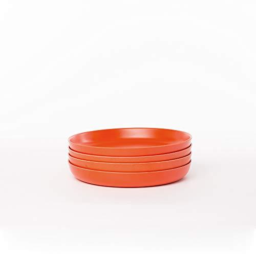 - EKOBO Kids Bamboo 7'' Plate Set, 4 Pack, Small, BIOBU Eco-material, Orange (Persimmon)