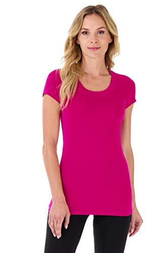 Rekucci Women's Perfectly Soft Basic Fitted Short Sleeve Scoop Neck T Shirt (Large,Fuchsia)