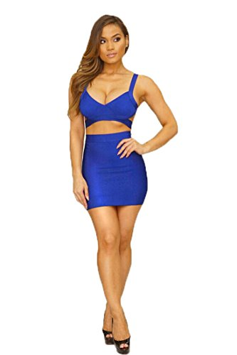 Whoinshop Womens Bodycon Bandage Skirt Set 2 Pieces Sleeveless Celebrity Dress Blue L