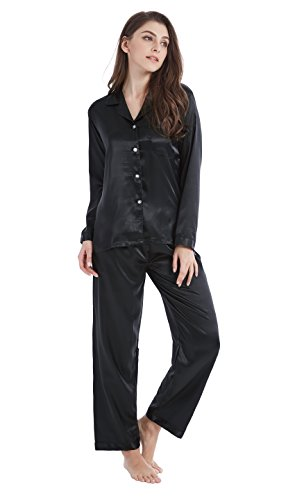 Tony & Candice Women's Classic Satin Pajama Set Sleepwear Loungewear (Large, - Silk Black Pajamas