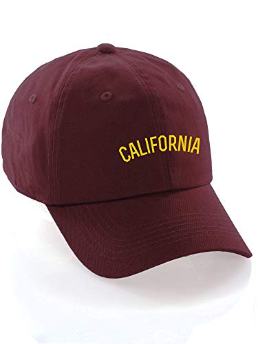 (Daxton USA Cities Baseball Dad Hat Cap Cotton Unstructure Low Profile Strapback - California Burgundy Gold )