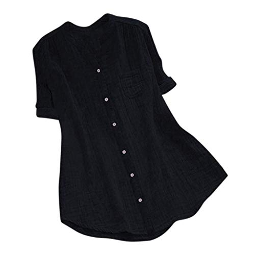 Driuankeji Solid Blouse for Women Ladies Stand Collar Short Sleeve Casual Loose Tunic Tops T Shirt Black