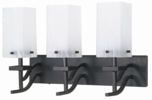 Nuvo 60/006 Three Light Vanity with Alabaster Glass, Textured Black