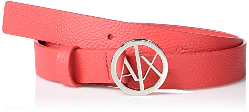 AX Armani Exchange Women's Circle Ax Logo Buckle Grained Leather Belt