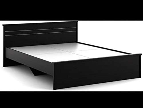 Queen Engineered Wood Glossy Finish Bed with Storage  Black