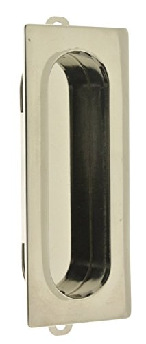 idh by St. Simons 25400-014 Professional Grade Quality Genuine Solid Brass Rectangular Flush Pull, Bright Nickel - Solid Brass 1.5' Knob