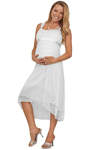 Maternity Formal Chiffon Straight Neck Sleeveless Knee Length Empire Waist Dress