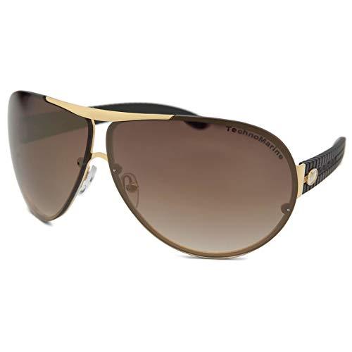 a588106b66f49 TechnoMarine Cruise Speedway Aviator TMEW007 Sunglasses - Made in Italy  Brown Brown Gold