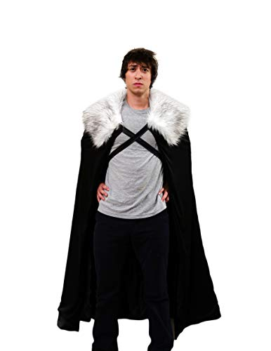 Encore Costumes Game of Thrones Costume Cloak Inspired Jon Snow Costume Cape from GOT for Men Cosplay (Medium, Grey Fur)