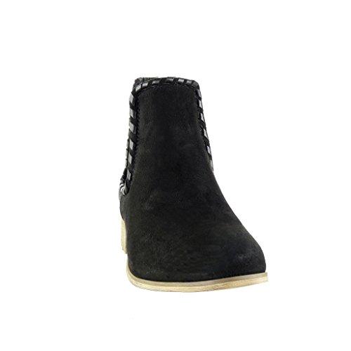 Angkorly - Zapatillas de Moda Botines chelsea boots cavalier bimaterial mujer trenzado tachonado Talón Tacón ancho 3.5 CM - Negro