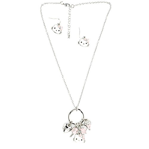 QuickPeter Baby Kitty Charm Necklace with Matching Hello Kitty Earrings (Silver)