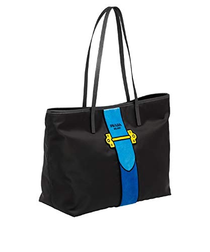 essuto Ricamo Shopping Tote Shoulder Bag Messenger Bag with Blue Velvet Accent Line Leather Trim 1BG065 ()