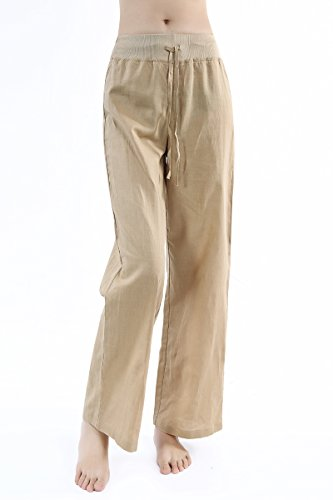 Women's Comfy Drawstring wide Leg Loose Fitting Casual Linen Pants with Wide Elastic Band Waist (XL, Khaki)