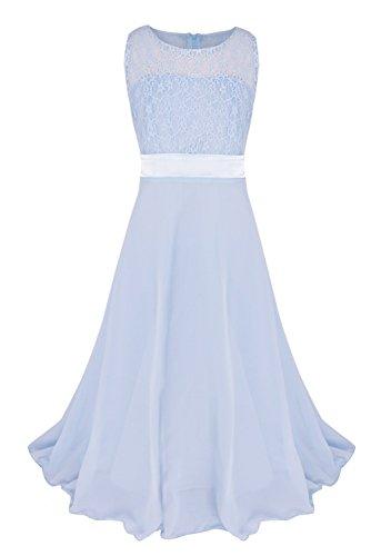 FEESHOW Girls Kids Lace Flower Wedding Pageant Party Chiffon Long Maxi Dress Light Blue 12 (Light Blue Girls Pageant Dress)