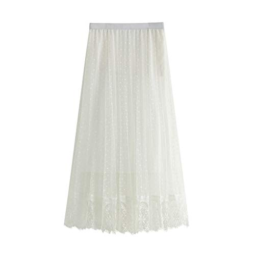 Holzkary Women's Long Tulle Skirt Tutu Polka Dot Pleated Maxi Chiffon Lace Petticoat High Elastic Waist Big Hem Skirts(14-24.White