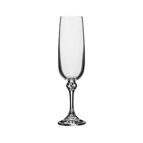 Crystalex B40428-180, 6-Ounce Julia Champagne Flute, Classic Elegant Design, Long Stem Champagne Crystal Glasses Set of 6 (Flute Long Stem)