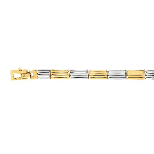 BH 5 Star Jewelry 14kt Gold 8.25'' Yellow+White Finish 8mm Bracelet with Lobster Clasp by BH 5 Star Jewelry