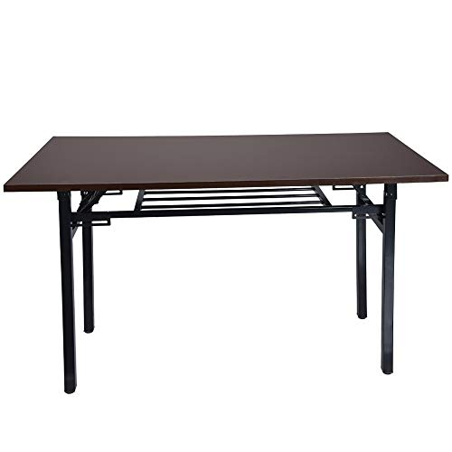 Luonita Folding Computer Desk Modern Portable Simple Student Writing Home Desk Vintage Office Desk Features Heavy-Duty Metal Base Works As Writing Desk or Study Table Shipping from NJ.,CA. (Wine)