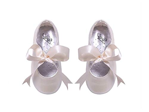Bridal Victoria Shoes - Subibaja Victoria - Mary Jane Tie Ribbon Shoes for Baby Girls | Toddlers PW23 Pearl White
