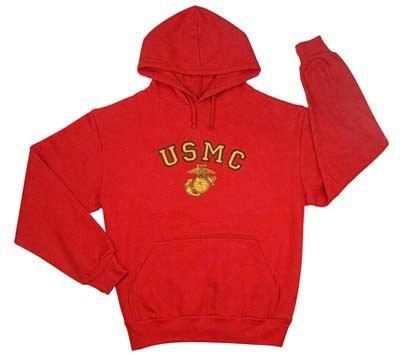 Rothco USMC G&A Pullover Hood Sweatshirt, Red, X-Large (Sweatshirt Usmc Pullover Hood)