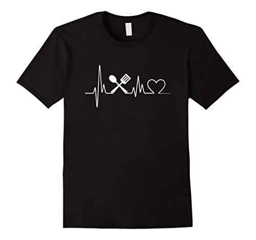 Mens Cooking Heartbeat T-Shirt - Cooking T-Shirt Medium Black