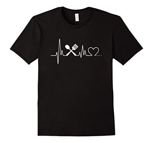 Mens Cooking Heartbeat T-Shirt - Cooking T-Shirt 2XL Black