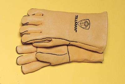 "John Tillman and Co 945L 14"" Top Grain Elk Wool Lined Welders Gloves with Straight Thumb, Welted Fingers and Kevlar Stitching (Carded), Large, Gold"