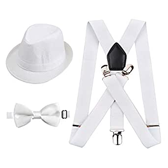 Alizeal 1 inch Suspender and Bow Tie Set with Matched Hat for Kids (All White)