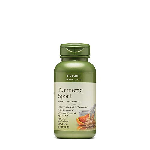 GNC Herbal Plus Turmeric Sport, 60 Capsules, Absorbable Turmeric for Fueling Recovery
