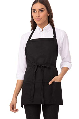 Chef Works Unisex Three Pocket Apron, Black 24-Inch Length by 28-Inch Width