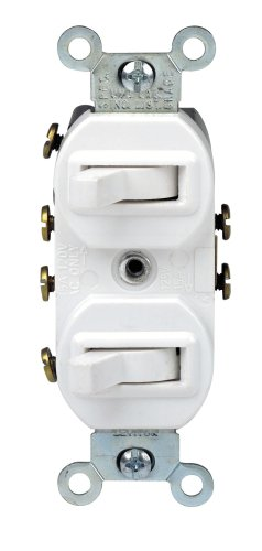 Leviton 5243-W Duplex Toggle Switch With Grounding Screw, 120/277 Vac, 15 A, 1 P, White