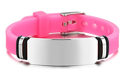 JF.JEWELRY Personalized Custom Engraving Stainless Steel Silicone Band Bracelet for Kids Adjustable Pink