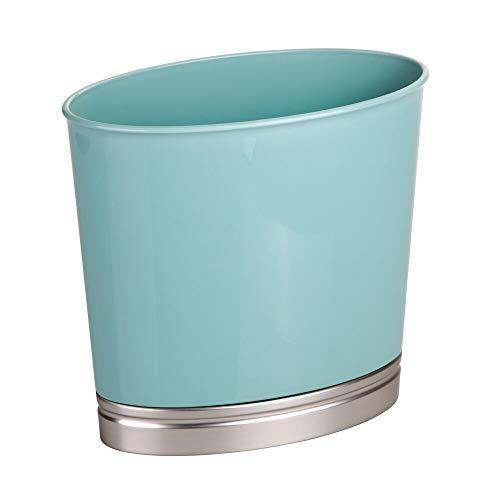 mDesign Oval Wastebasket Trash Can for Bathroom, Kitchen, Office - Seafoam/Brushed