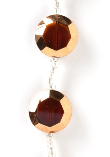 Plaid Select Strands Classic Jewelry Metallic Faceted Coin Glass Beads, 3397 Amber (Amber Coin Glass)