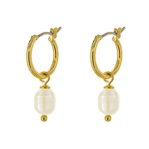 Columbus 14K Gold Plated Charm Huggie Hoop Earrings - Imitation Pearl Drop Earrings - Pearl Earrings - Small Hoop Earrings (Gold - Circle Drop Pearl Freshwater