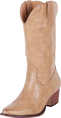 Cambridge Select Women's Pointed Toe Western Distressed Stitched Mid-Calf Cowboy Boot,8.5 B(M) US,Taupe PU