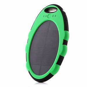 5000mAh Portable Solar Power Charger, Battery Pack -SOGO-Free Protective Case-Dual USB Ports, LED Flashlight Carabiner All Your Rechargeable Devices - Charger Shake