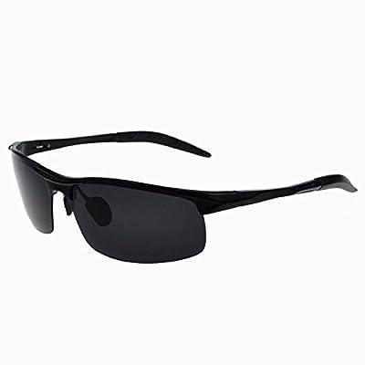 LXKMTYJ Yeux Lunettes Lunettes de soleil hommes Au polariseur miroir rétroviseur conducteur conduite Lunettes carrés ultra-léger, noir