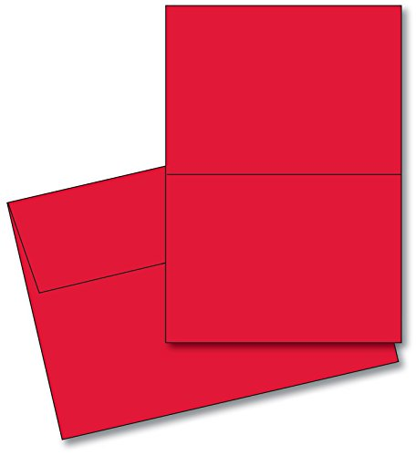 Red Blank 5x7 Greeting Cards with Red A7 Envelopes. (25 Per Pack) from S Superfine Printing
