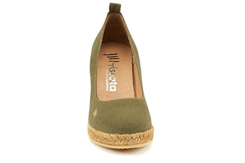 Viscata Marquesa 3.25 Pompa A Cuneo, Tela, Slip-on, Punta Chiusa, Tacco Espadrillas Made In Spain Oliva