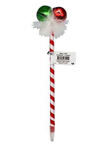 Novelty Jingle Bell Candy Cane Striped Christmas Ballpoint Pen (Black (Striped Jingle Bell)
